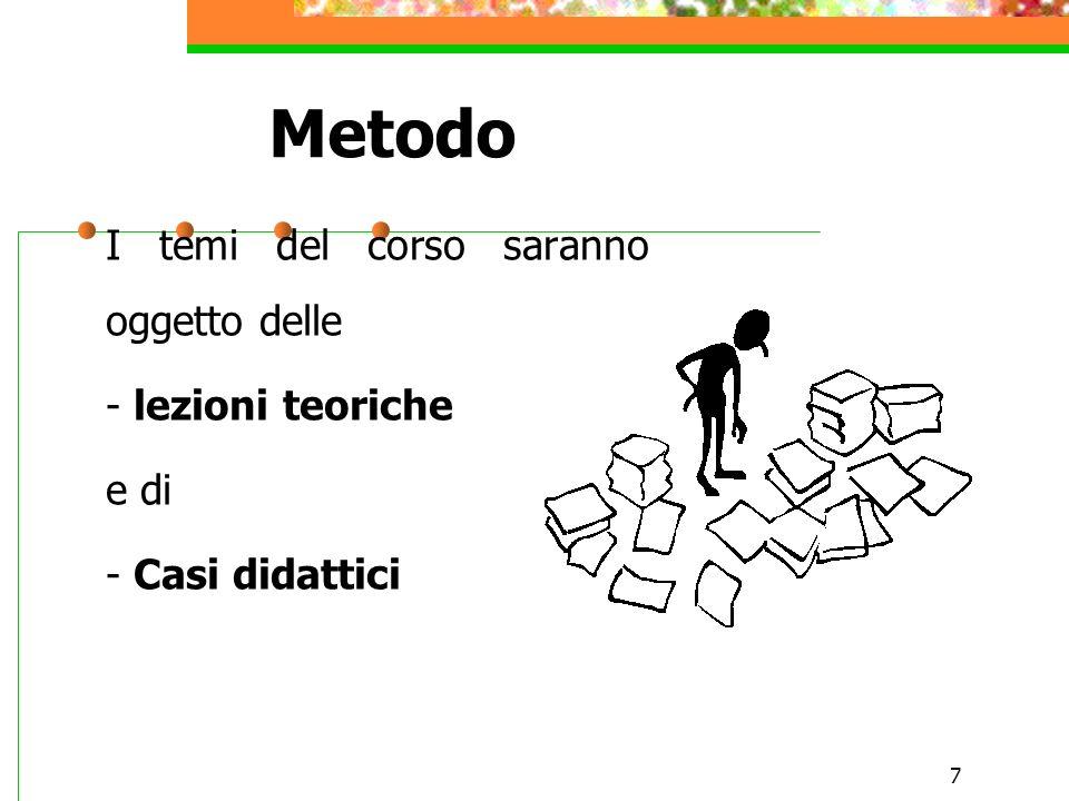 7 Metodo I temi del corso saranno oggetto delle - lezioni teoriche e di - Casi didattici