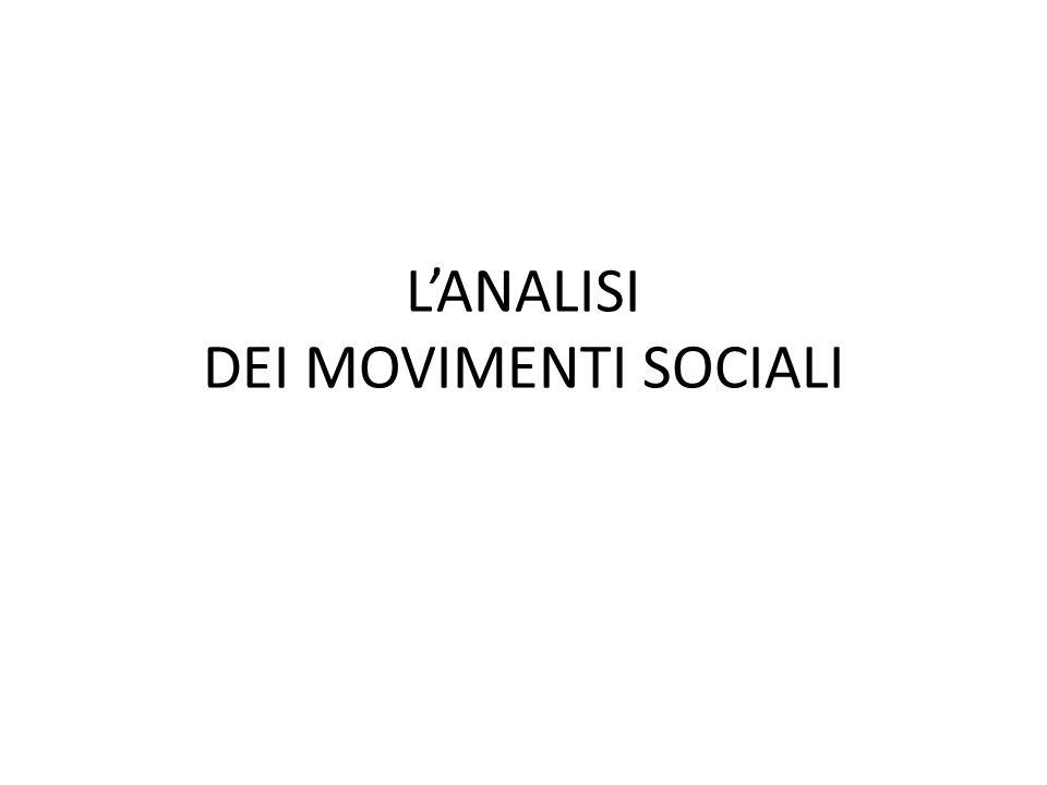 Movimento sociale in senso stretto e in senso lato Movimento sociale in senso stretto mobilitazioni Movimento in senso lato un micro-universo della protesta (rete di organizzazioni ed istituzioni sociali) Kresi pensa relazionalmente al movimento sociale collegando lanalisi ad altri soggetti