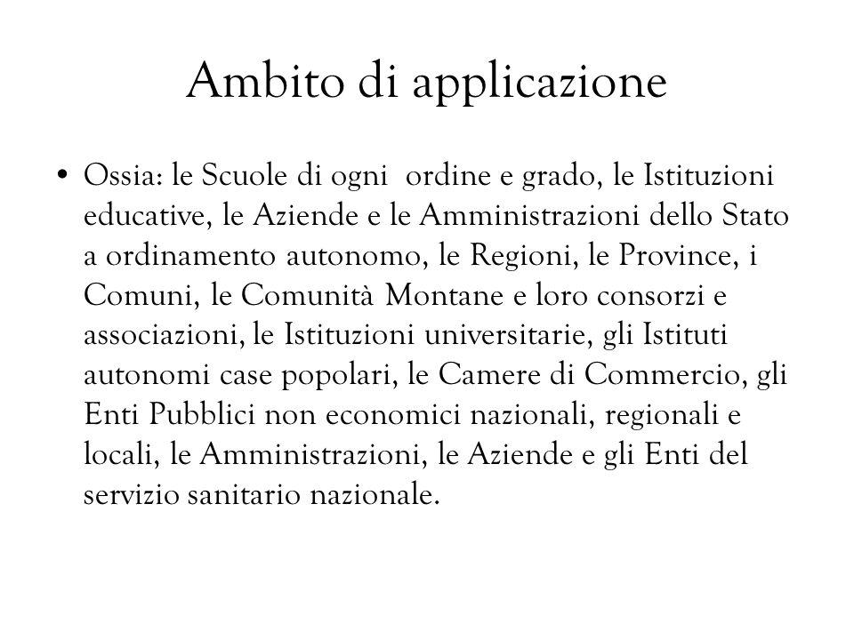 Ambito di applicazione Ossia: le Scuole di ogni ordine e grado, le Istituzioni educative, le Aziende e le Amministrazioni dello Stato a ordinamento au