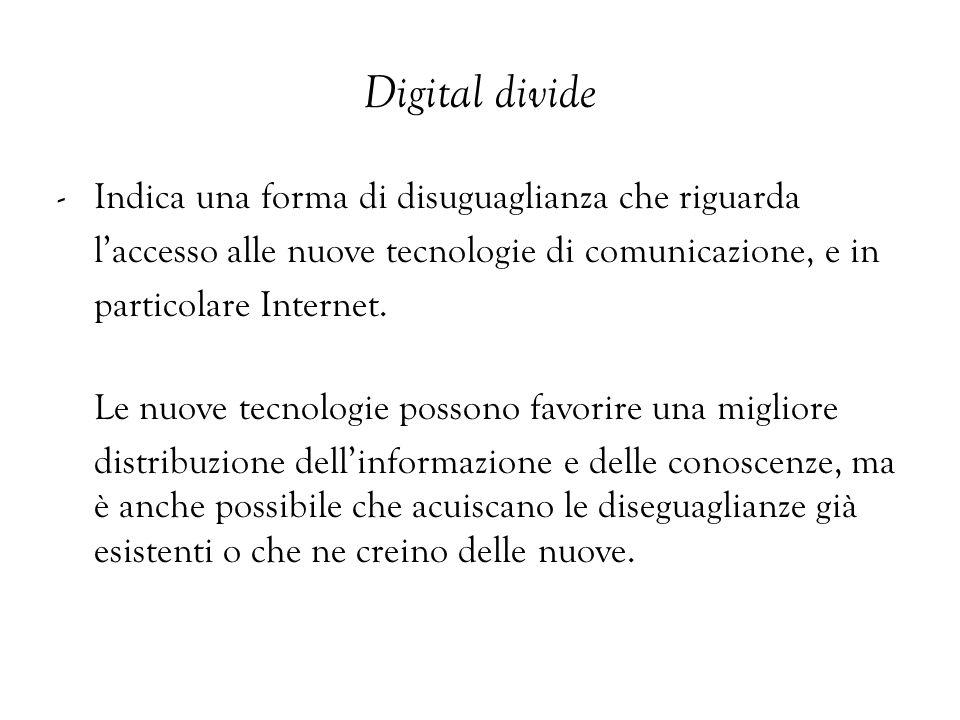 Digital divide - Indica una forma di disuguaglianza che riguarda laccesso alle nuove tecnologie di comunicazione, e in particolare Internet. Le nuove
