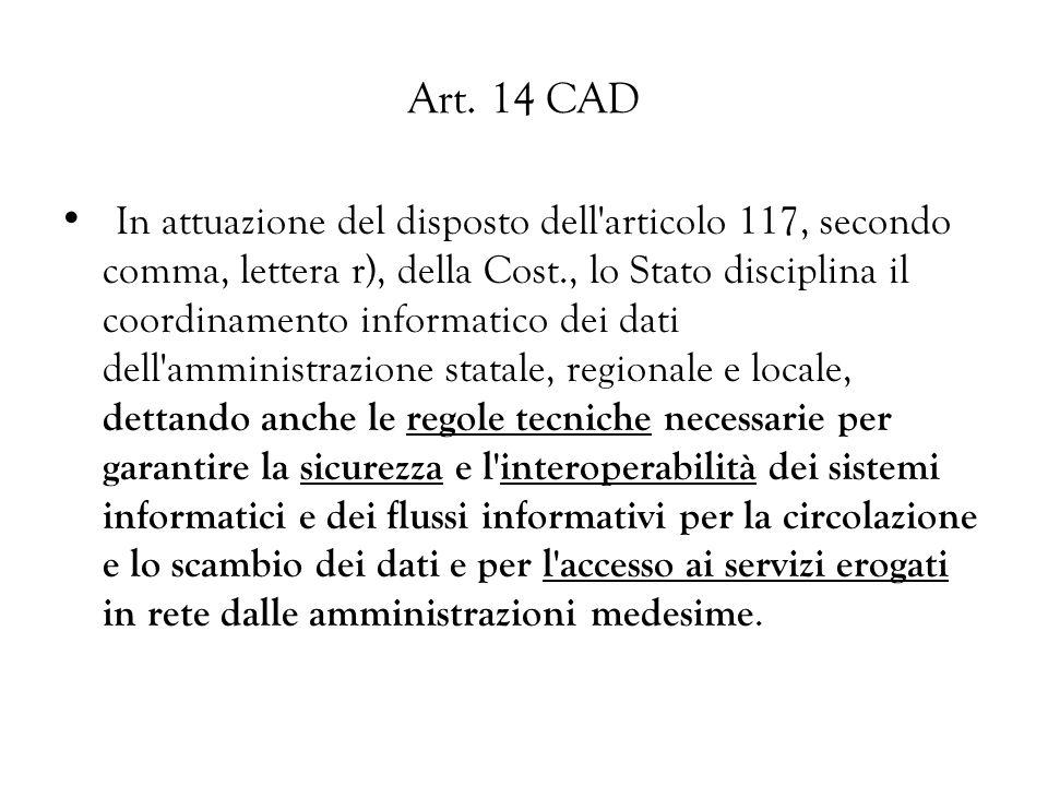 Art. 14 CAD In attuazione del disposto dell'articolo 117, secondo comma, lettera r), della Cost., lo Stato disciplina il coordinamento informatico dei