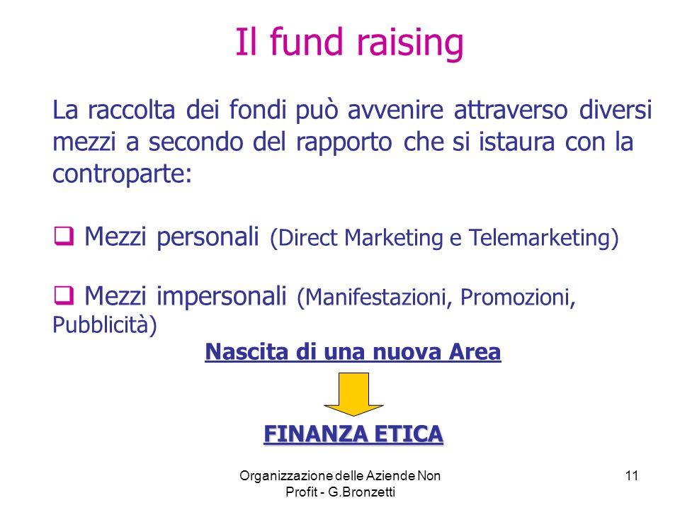 Organizzazione delle Aziende Non Profit - G.Bronzetti 11 Il fund raising La raccolta dei fondi può avvenire attraverso diversi mezzi a secondo del rap