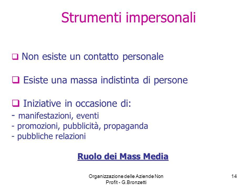 Organizzazione delle Aziende Non Profit - G.Bronzetti 14 Strumenti impersonali Non esiste un contatto personale Esiste una massa indistinta di persone
