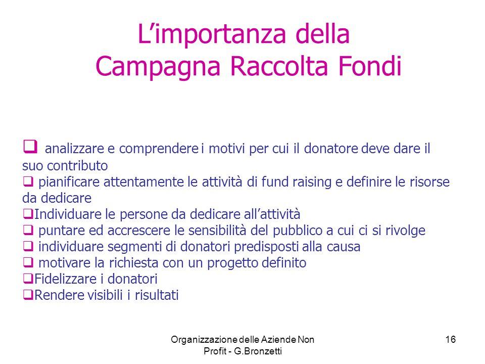 Organizzazione delle Aziende Non Profit - G.Bronzetti 16 Limportanza della Campagna Raccolta Fondi analizzare e comprendere i motivi per cui il donato
