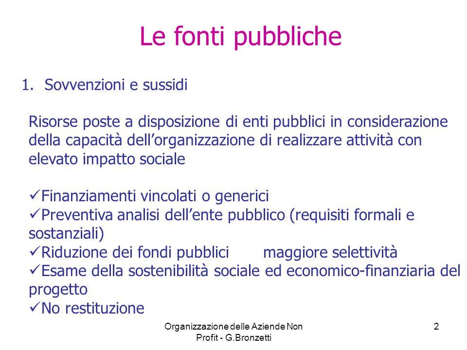 Organizzazione delle Aziende Non Profit - G.Bronzetti 2 Le fonti pubbliche 1.Sovvenzioni e sussidi Risorse poste a disposizione di enti pubblici in co