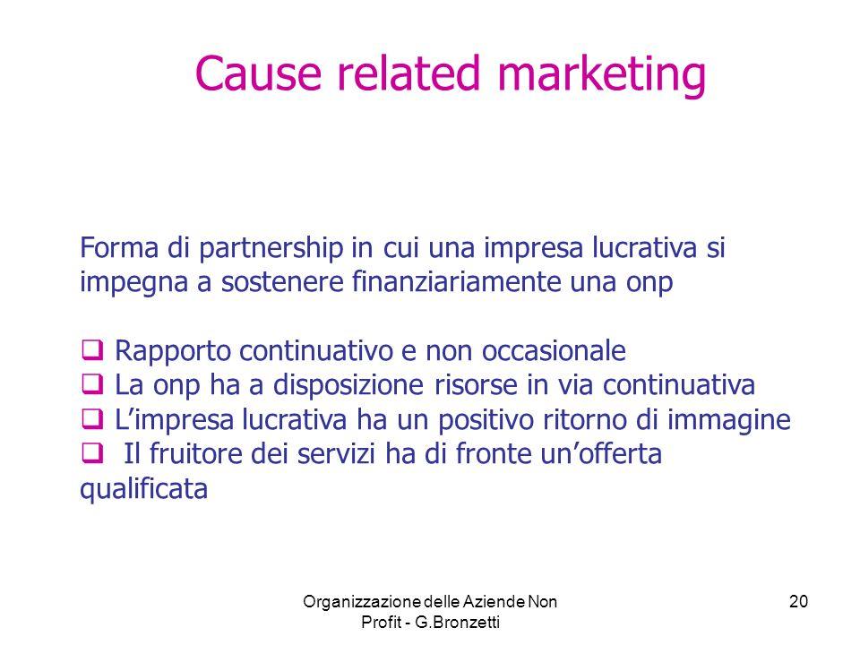 Organizzazione delle Aziende Non Profit - G.Bronzetti 20 Forma di partnership in cui una impresa lucrativa si impegna a sostenere finanziariamente una
