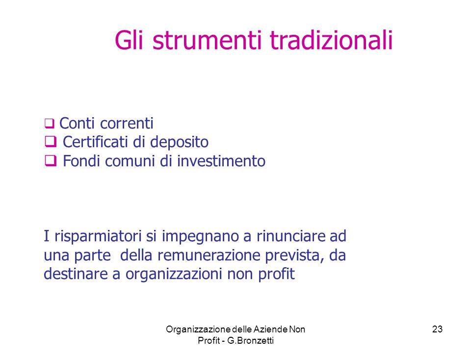 Organizzazione delle Aziende Non Profit - G.Bronzetti 23 Conti correnti Certificati di deposito Fondi comuni di investimento I risparmiatori si impegn