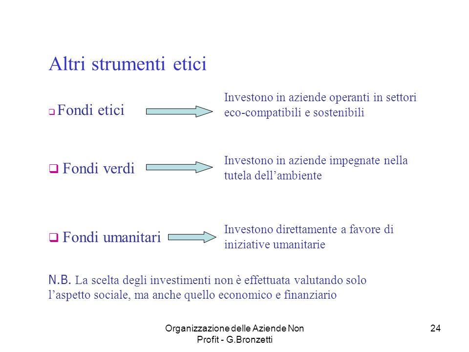 Organizzazione delle Aziende Non Profit - G.Bronzetti 24 Altri strumenti etici Fondi etici Investono in aziende operanti in settori eco-compatibili e