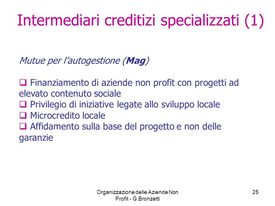 Organizzazione delle Aziende Non Profit - G.Bronzetti 25 Mutue per lautogestione (Mag) Finanziamento di aziende non profit con progetti ad elevato con
