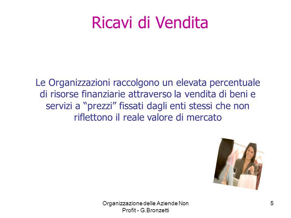 Organizzazione delle Aziende Non Profit - G.Bronzetti 5 Ricavi di Vendita Le Organizzazioni raccolgono un elevata percentuale di risorse finanziarie a