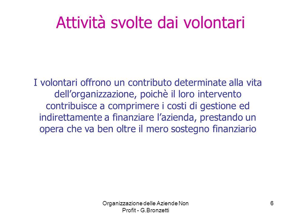 Organizzazione delle Aziende Non Profit - G.Bronzetti 6 Attività svolte dai volontari I volontari offrono un contributo determinate alla vita dellorga