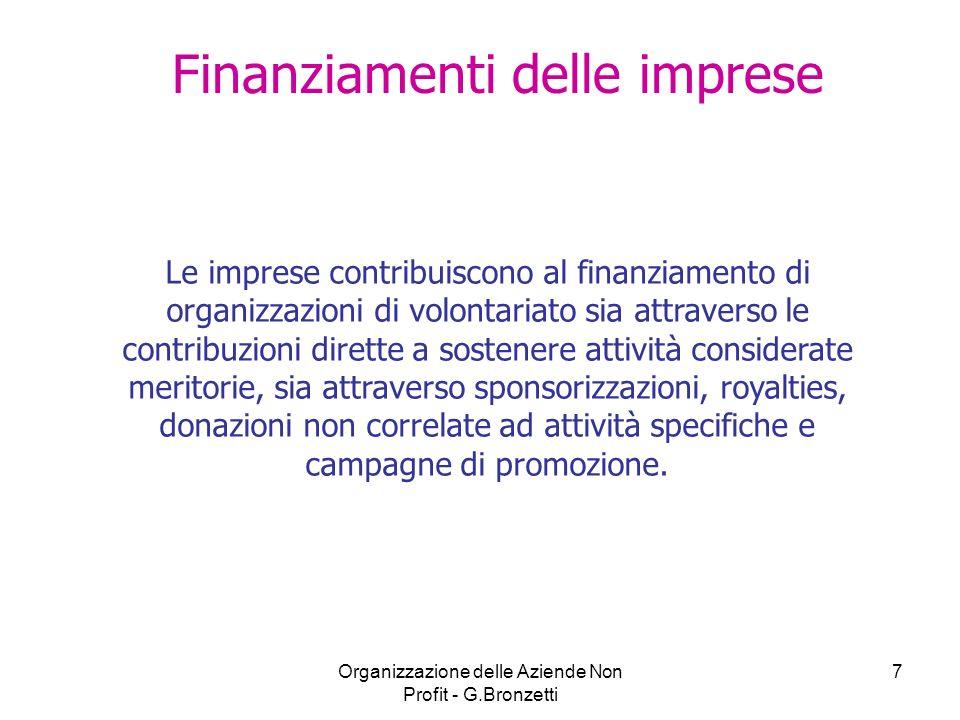 Organizzazione delle Aziende Non Profit - G.Bronzetti 7 Finanziamenti delle imprese Le imprese contribuiscono al finanziamento di organizzazioni di vo