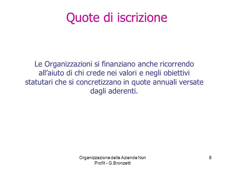 Organizzazione delle Aziende Non Profit - G.Bronzetti 9 Donazioni e liberalità varie I Finanziamenti di natura privata coprono circa il 60% delle entrate del settore non profit in Italia, mentre il restante 40% è coperto da fonti pubbliche.