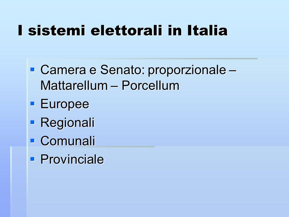 I sistemi elettorali in Italia Camera e Senato: proporzionale – Mattarellum – Porcellum Camera e Senato: proporzionale – Mattarellum – Porcellum Europ