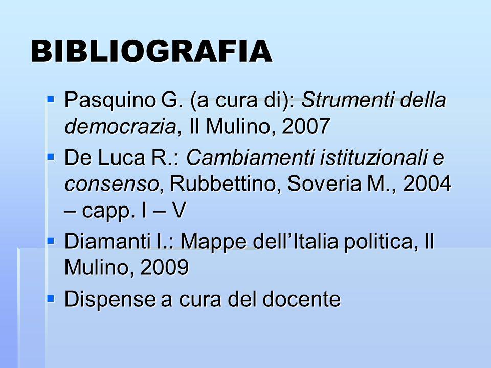 BIBLIOGRAFIA Pasquino G. (a cura di): Strumenti della democrazia, Il Mulino, 2007 Pasquino G. (a cura di): Strumenti della democrazia, Il Mulino, 2007