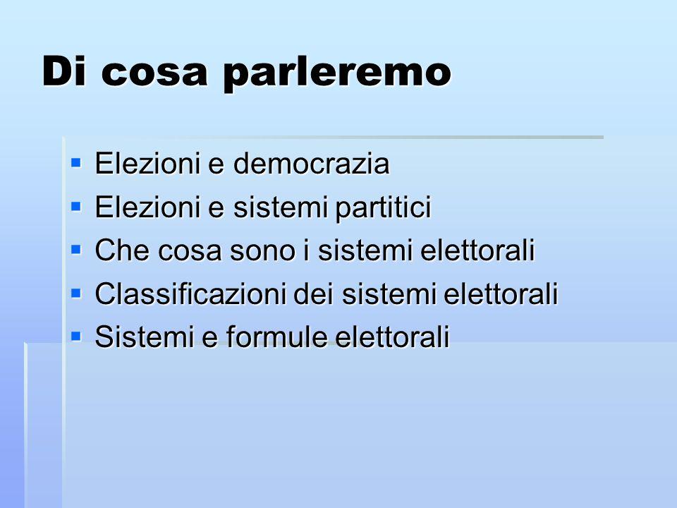 Di cosa parleremo Elezioni e democrazia Elezioni e democrazia Elezioni e sistemi partitici Elezioni e sistemi partitici Che cosa sono i sistemi eletto