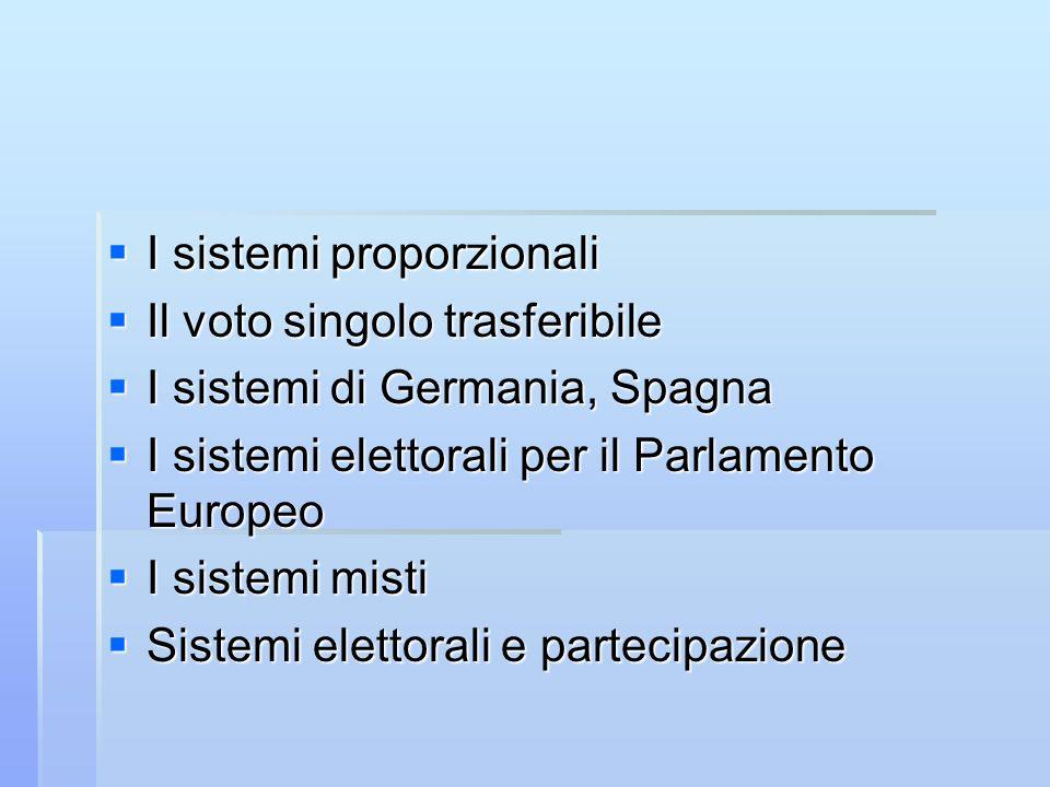 I sistemi proporzionali I sistemi proporzionali Il voto singolo trasferibile Il voto singolo trasferibile I sistemi di Germania, Spagna I sistemi di G