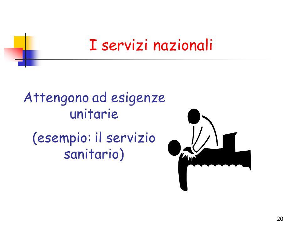 20 I servizi nazionali Attengono ad esigenze unitarie (esempio: il servizio sanitario)