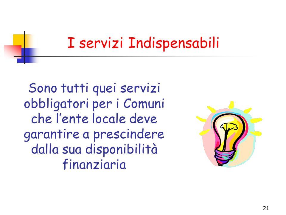 21 I servizi Indispensabili Sono tutti quei servizi obbligatori per i Comuni che lente locale deve garantire a prescindere dalla sua disponibilità fin