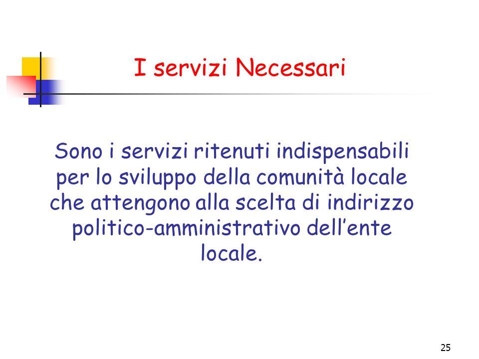 25 I servizi Necessari Sono i servizi ritenuti indispensabili per lo sviluppo della comunità locale che attengono alla scelta di indirizzo politico-am
