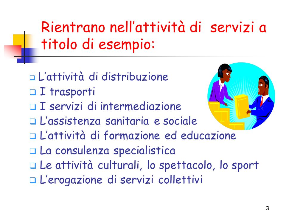 3 Lattività di distribuzione I trasporti I servizi di intermediazione Lassistenza sanitaria e sociale Lattività di formazione ed educazione La consule