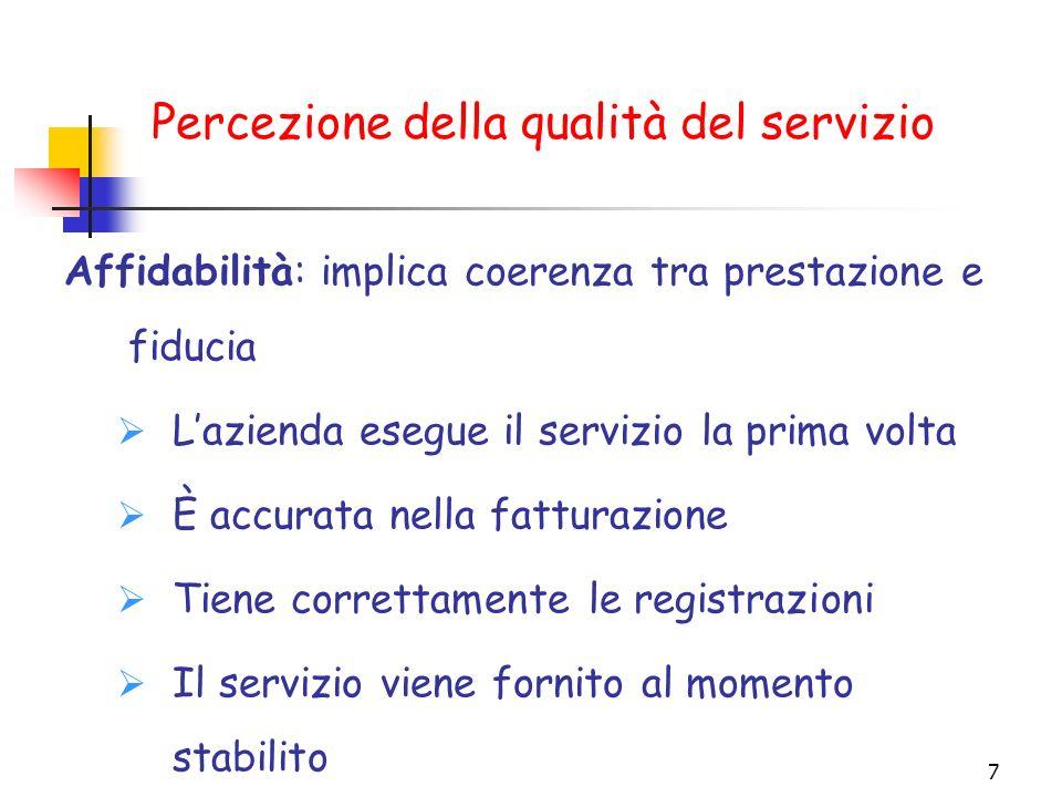 7 Affidabilità: implica coerenza tra prestazione e fiducia Lazienda esegue il servizio la prima volta È accurata nella fatturazione Tiene correttament