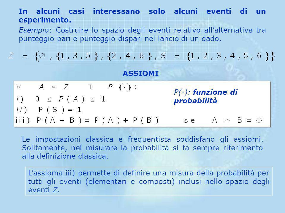 SPAZIO DEGLI EVENTI (Z) Una classe di eventi ai quali si vuole assegnare una probabilità. Questa classe deve essere un'algebra, ovvero deve contenere