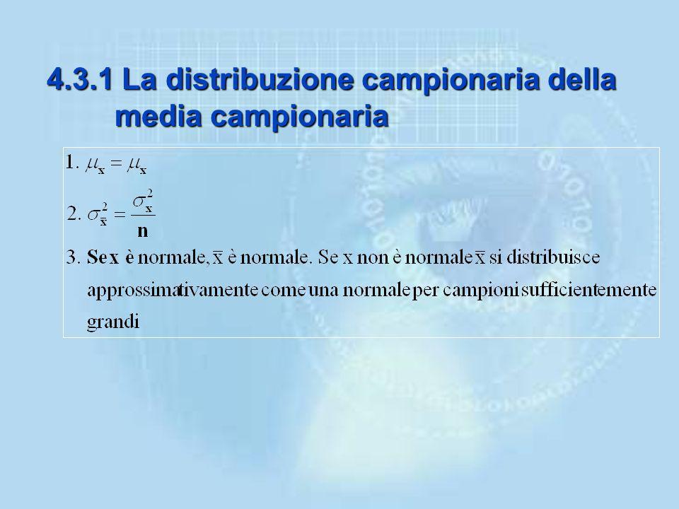 –Da qualsiasi popolazione si estragga un campione, la distribuzione della media campionaria si approssima ad una Normale per campioni sufficientemente