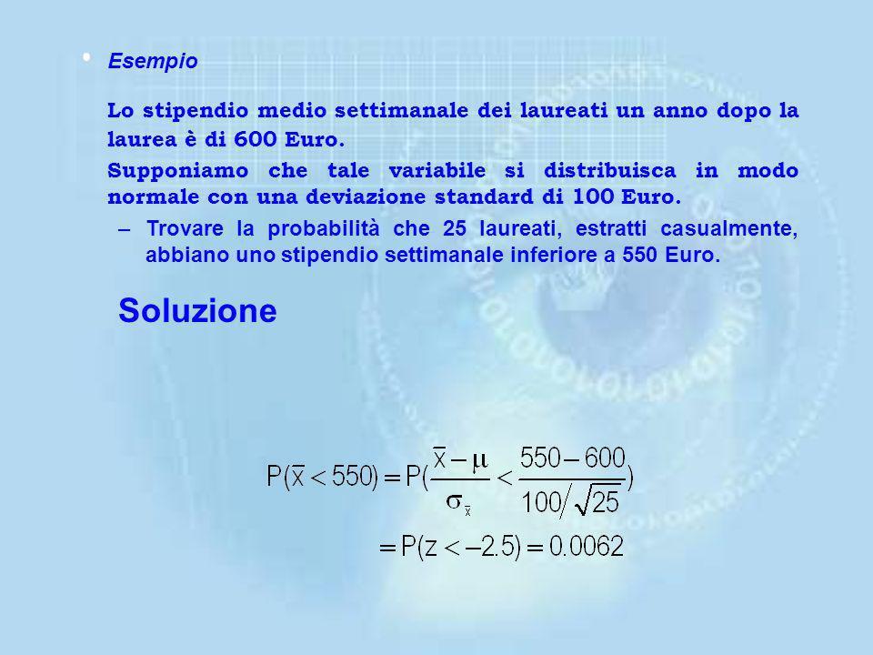 = 32.2 0.7486 x = 32 –Trovare la probabilità associata alla possibilità di avere in 4 bottiglie una quantità media maggiore di 32 ml. Soluzione La var