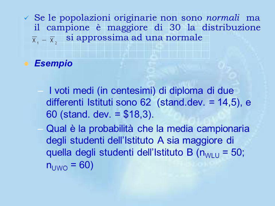 Il valore atteso e la varianza saranno: La distribuzione di è normale con media 1 - 2 e deviazione standard di se –I due campioni sono indipendenti –L