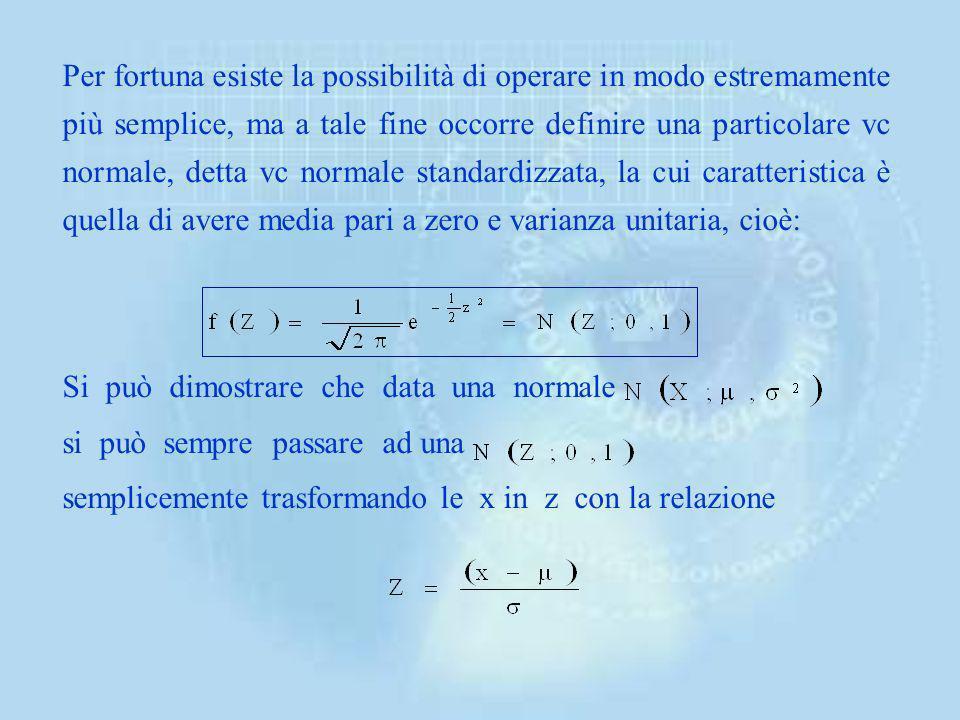 da cui si ha anche che: Esempio, se una vc normale ha media pari a 3,6 e varianza pari a 81, la probabilità che x sia compreso tra -4,2 e 7,5 si ha ri