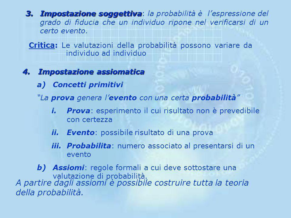 CONCEZIONI ALTERNATIVE DELLA PROBABILITA 1.Impostazione classica 1.Impostazione classica: la probabilità del verificarsi di un certo risultato è data