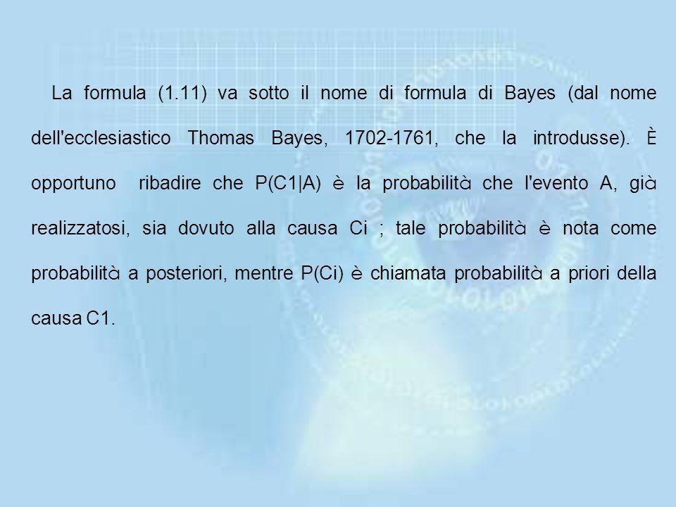 Applicando la (1.8) ad ogni elemento al secondo membro dell'equazione precedente, si può anche scrivere P(A) = P(C1)P(A|C1)+ P(C2)P(A|C2)+... + P(Ck)F