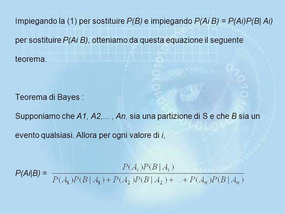 Di conseguenza, P(B) = P(A1 B) + P(A2 B) +...+ P(A n B) Quindi, per il teorema di moltiplicazione, P(B)= P(A1)P(B|A1)+ P(A2)P(B|A2)+...+ P(An)P(B|An)