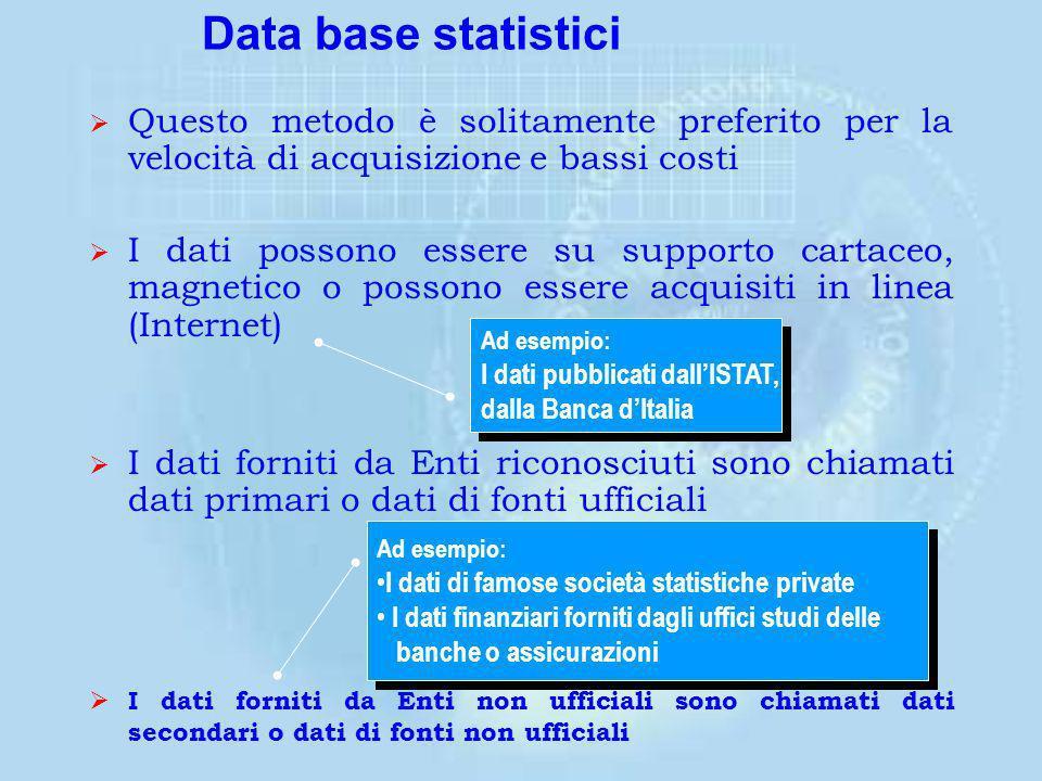 La precisione e la qualità dei dati influiscono sulla validità dei risultati La precisione e la qualità dei dati dipendono dal tipo di metodo scelto p