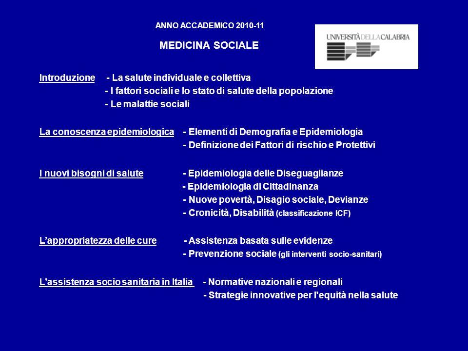 ANNO ACCADEMICO 2010-11 MEDICINA SOCIALE Introduzione - La salute individuale e collettiva - I fattori sociali e lo stato di salute della popolazione - Le malattie sociali La conoscenza epidemiologica - Elementi di Demografia e Epidemiologia - Definizione dei Fattori di rischio e Protettivi I nuovi bisogni di salute - Epidemiologia delle Diseguaglianze - Epidemiologia di Cittadinanza - Nuove povertà, Disagio sociale, Devianze - Cronicità, Disabilità (classificazione ICF) Lappropriatezza delle cure - Assistenza basata sulle evidenze - Prevenzione sociale (gli interventi socio-sanitari) Lassistenza socio sanitaria in Italia - Normative nazionali e regionali - Strategie innovative per l equità nella salute