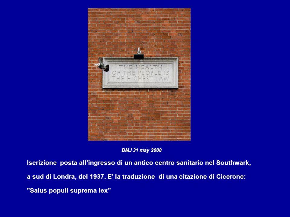 BMJ 31 may 2008 Iscrizione posta allingresso di un antico centro sanitario nel Southwark, a sud di Londra, del 1937.