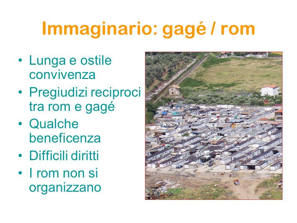 Immaginario: gagé / rom Lunga e ostile convivenza Pregiudizi reciproci tra rom e gagé Qualche beneficenza Difficili diritti I rom non si organizzano