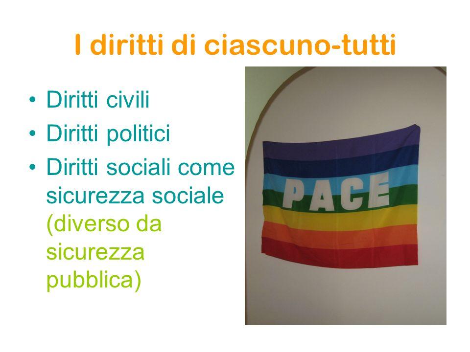 I diritti di ciascuno-tutti Diritti civili Diritti politici Diritti sociali come sicurezza sociale (diverso da sicurezza pubblica)