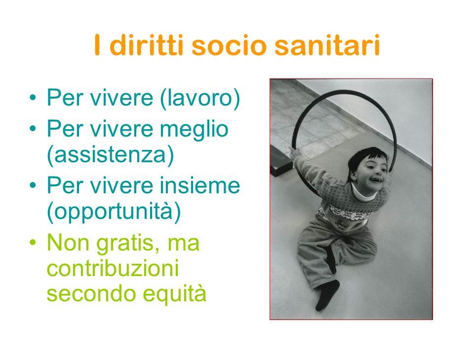 I diritti socio sanitari Per vivere (lavoro) Per vivere meglio (assistenza) Per vivere insieme (opportunità) Non gratis, ma contribuzioni secondo equità