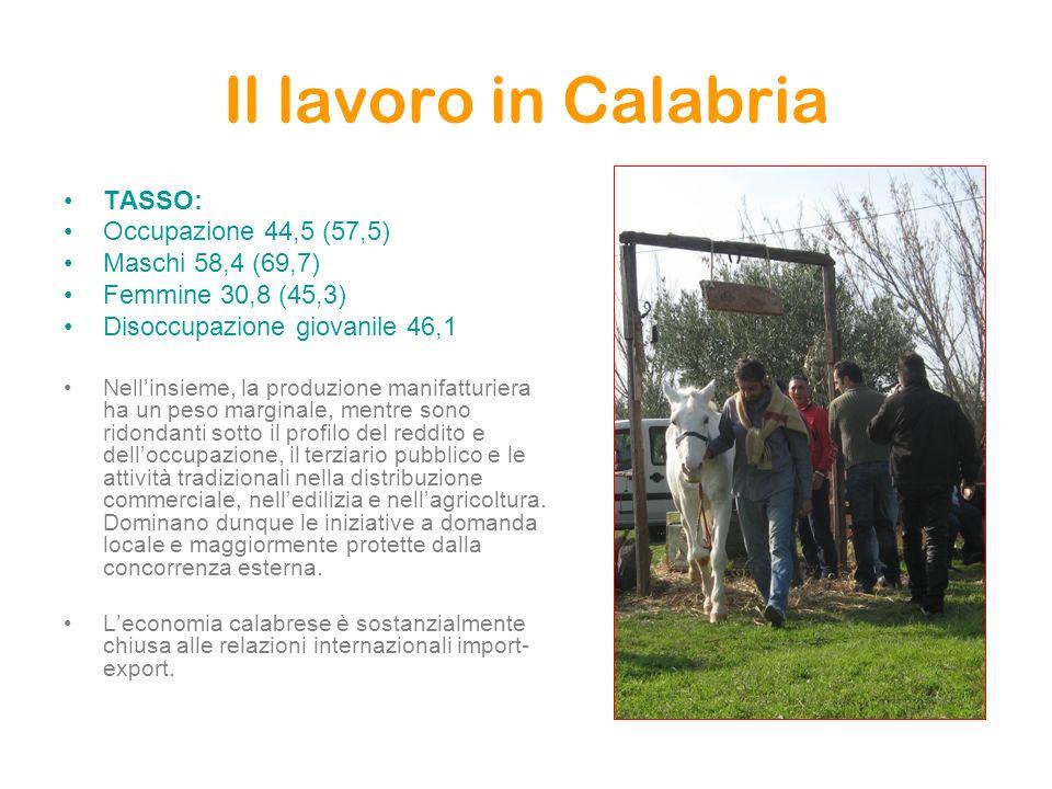 Il lavoro in Calabria TASSO: Occupazione 44,5 (57,5) Maschi 58,4 (69,7) Femmine 30,8 (45,3) Disoccupazione giovanile 46,1 Nellinsieme, la produzione m