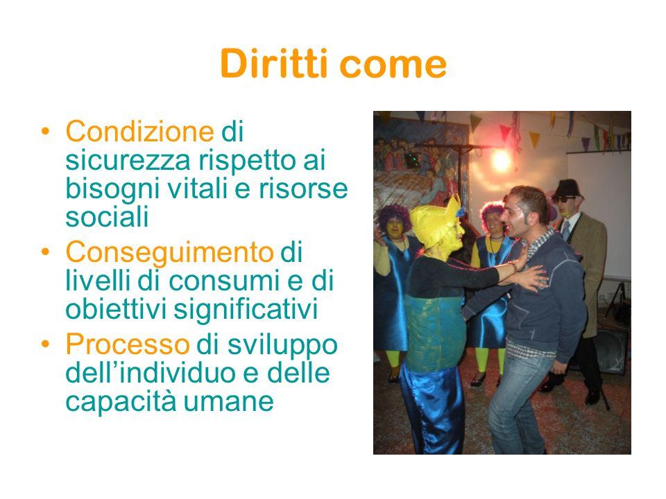 Diritti come Condizione di sicurezza rispetto ai bisogni vitali e risorse sociali Conseguimento di livelli di consumi e di obiettivi significativi Processo di sviluppo dellindividuo e delle capacità umane
