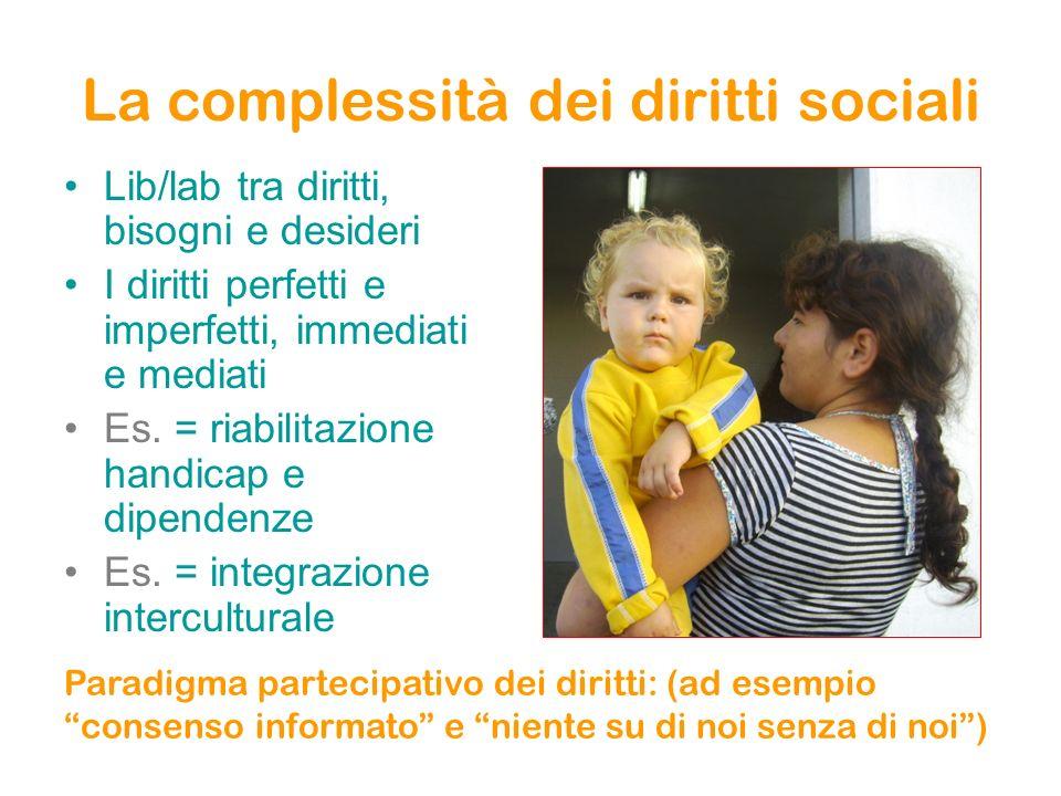 La complessità dei diritti sociali Lib/lab tra diritti, bisogni e desideri I diritti perfetti e imperfetti, immediati e mediati Es. = riabilitazione h