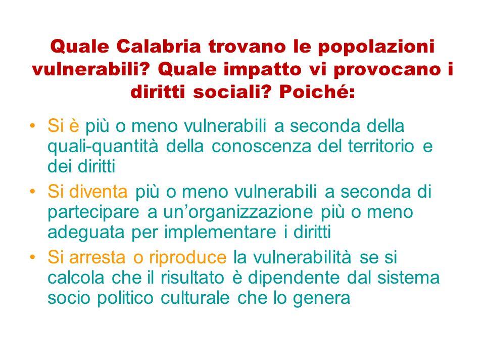 Quale Calabria trovano le popolazioni vulnerabili? Quale impatto vi provocano i diritti sociali? Poiché: Si è più o meno vulnerabili a seconda della q