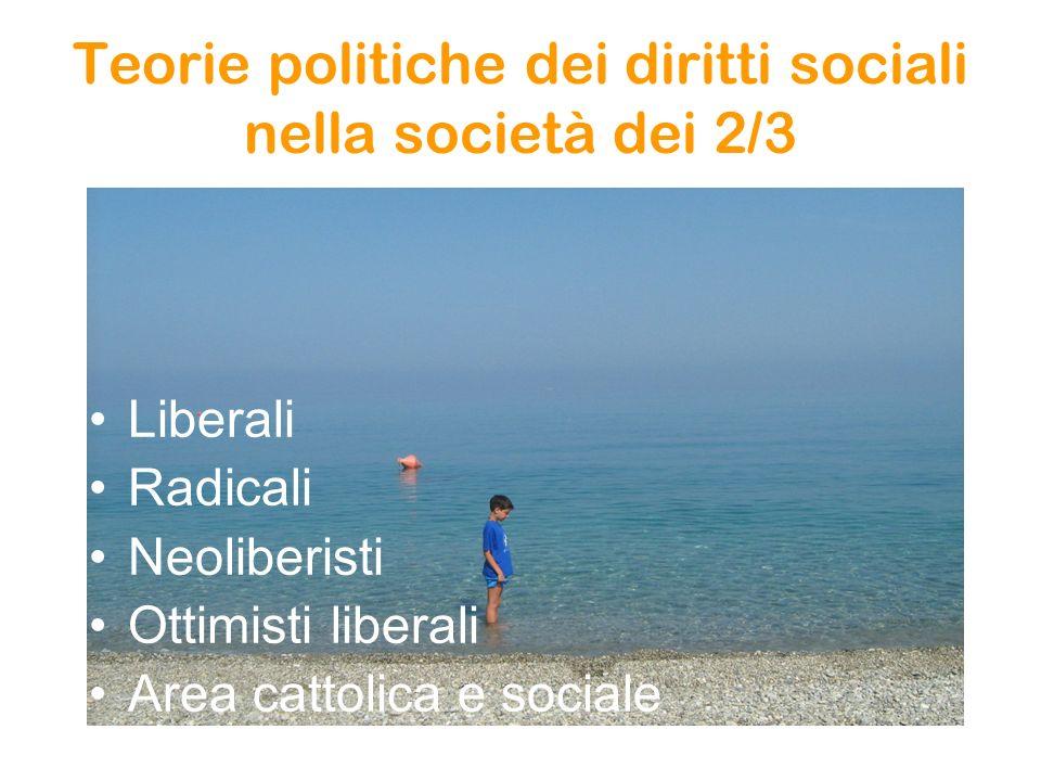 Teorie politiche dei diritti sociali nella società dei 2/3 Liberali Radicali Neoliberisti Ottimisti liberali Area cattolica e sociale
