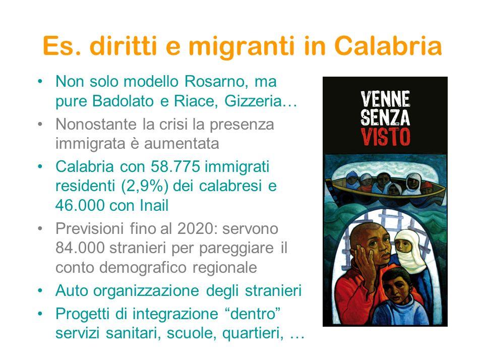 Es. diritti e migranti in Calabria Non solo modello Rosarno, ma pure Badolato e Riace, Gizzeria… Nonostante la crisi la presenza immigrata è aumentata