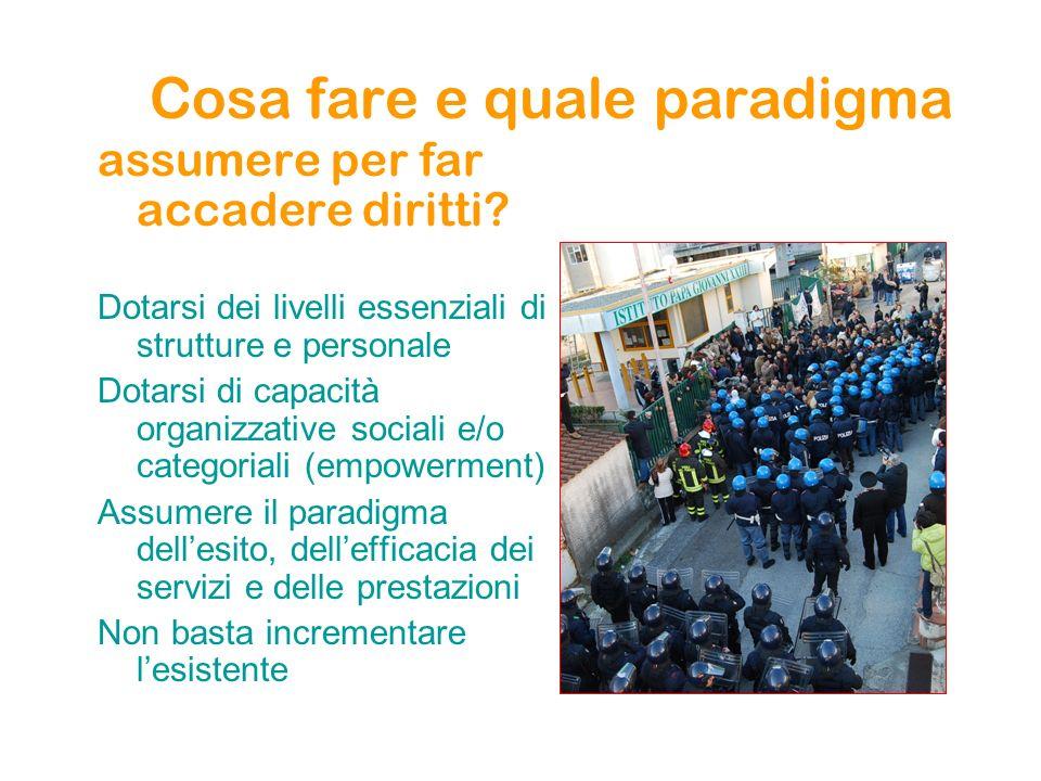 Cosa fare e quale paradigma assumere per far accadere diritti? Dotarsi dei livelli essenziali di strutture e personale Dotarsi di capacità organizzati