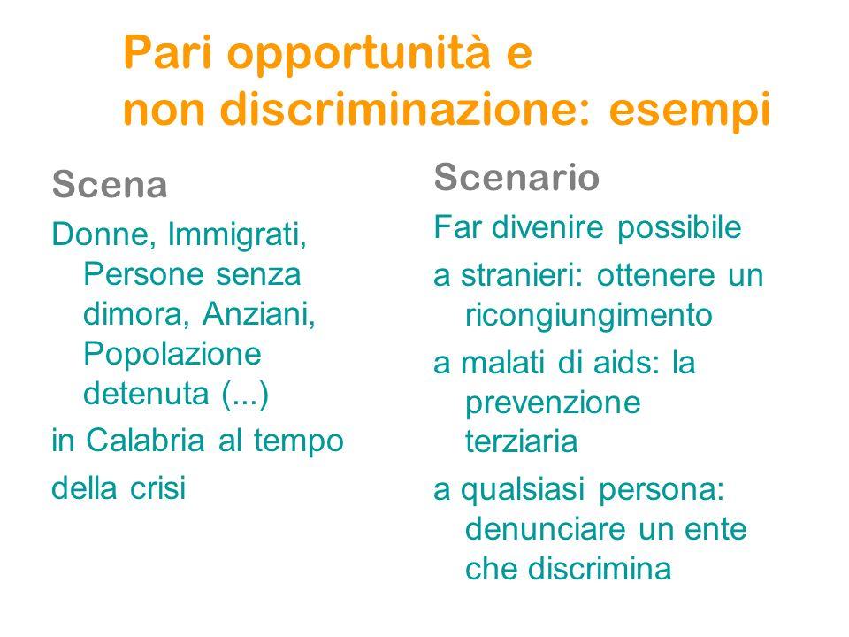 Pari opportunità e non discriminazione: esempi Scena Donne, Immigrati, Persone senza dimora, Anziani, Popolazione detenuta (...) in Calabria al tempo