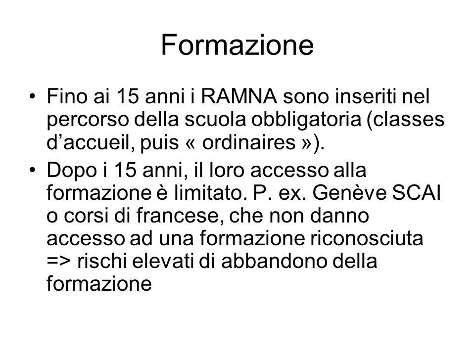 Formazione Fino ai 15 anni i RAMNA sono inseriti nel percorso della scuola obbligatoria (classes daccueil, puis « ordinaires »). Dopo i 15 anni, il lo
