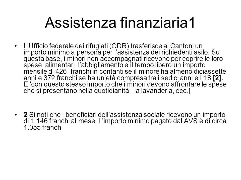 Assistenza finanziaria1 L'Ufficio federale dei rifugiati (ODR) trasferisce ai Cantoni un importo minimo a persona per lassistenza dei richiedenti asil